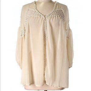 Ark & Co cream blouse size M